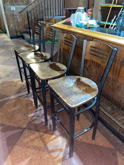 "Lot of 4, Restaurant Bar Stools, Wooden Ladder Back, Iron Frame, 30"" to Seat 42"" to Back"