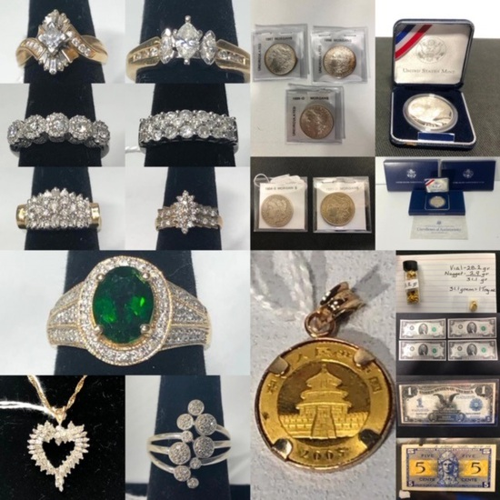 Coins, Currency, Gold and Silver Jewelry