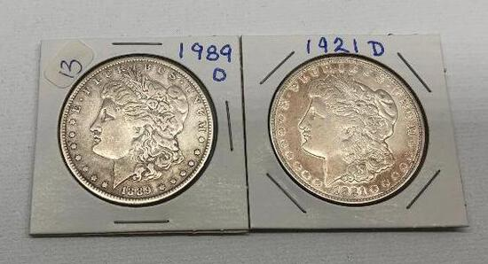 Lot of 2 Silver Dollars 1889 D and 1921 D