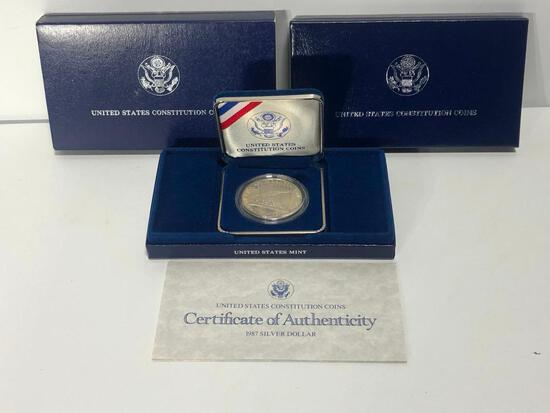 United States Constitution Coin 1987 Siver Dollar, S Mint, 90% Silver