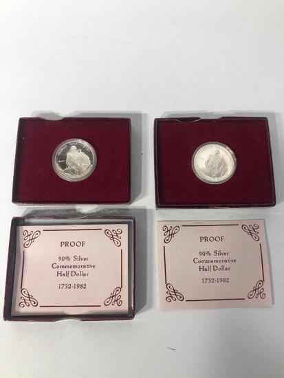 Set of 2 90% Silver Commerative Half Dollar 1732-1982