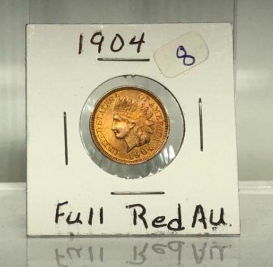 1904 Full Red Indian Head A U One Cent