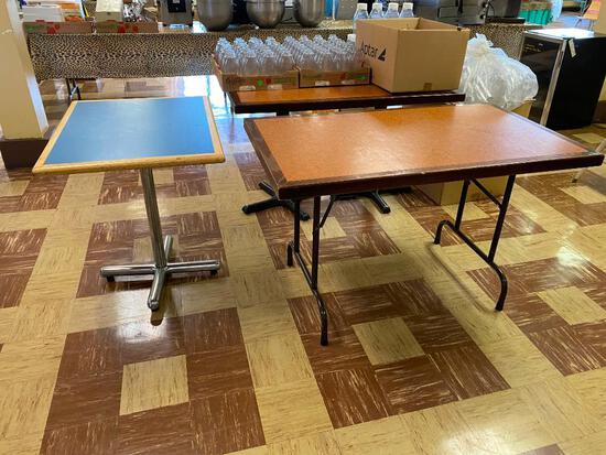Lot of 5 Restaurant Tables, 4 Rectangle, 1 Round