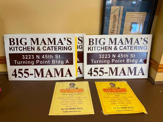 Big Mama's Kitchen & Catering Yard Signs and Flyers, 4 Signs