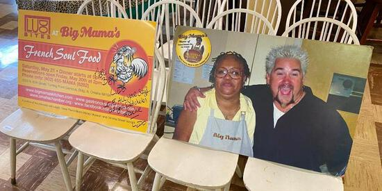 Big Mama's Enlarged Photo w/ Guy Fieri & Promo Sign, from Diners, Drive-Ins & Dives