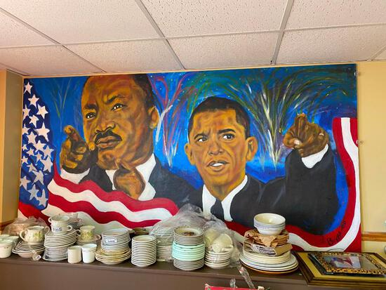 Oil on Canvas - Martin Luther King Jr & Barack Obama by Brett, Large, Approx. 72in x 36in