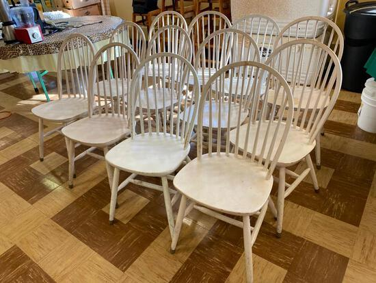 Restaurant Chairs, Windsor Style, Solid Wood, Painted White, Quantity 12
