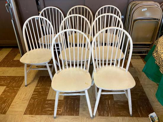 Restaurant Chairs, Windsor Style, Solid Wood, Painted White, Quantity 8