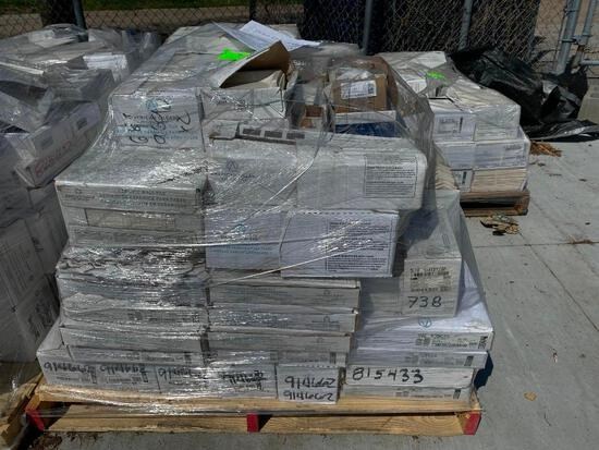 Pallet of Ceramic Flooring, 3 Types/Styles, Mostly Brilliant White American Orlean, Some Black/White