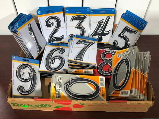 (74) Assorted Silver Reflective Plastic House Numbers by Hillman