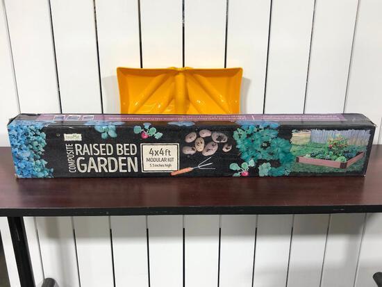 (2) Frame All Composite Raised Bed Garden 4ftx4ft, Yellow Shovel Scoop