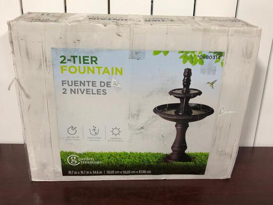 Garden Treasures 2-Tier Fountain with Auto Shut-off, Pump Included, for Outdoor Use