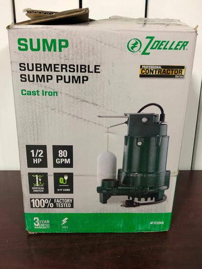 Zoeller Submersible Cast Iron Sump Pump #1096 See Photo for Details