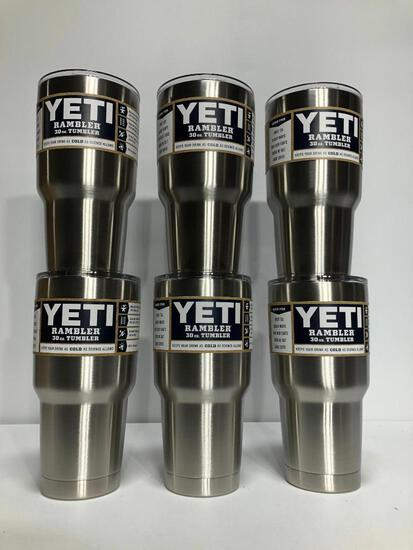 6 Pack, YETI Rambler 30oz Tumbler w/ Lid Stainless Steel - New In Box, MSRP: $210.00