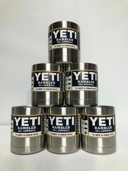 6 Pack, YETI Rambler 10oz Lowball Stainless Steel - New In Box, MSRP: $120.00