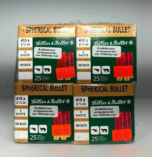 (4) Four Lellier and Bellot Spherical Bullets 410x 2 1/2 in Ammo MSRP: $21.99