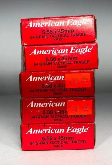(5) Five American Eagle Tactical Tracer XM856 5.56x45mm 64 Grain Tactical Tracer MSRP: $14.99