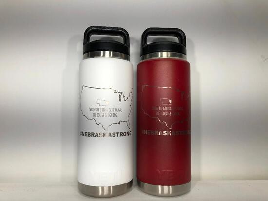(2) Yeti 20oz Rambler Bottle Limited Edition Nebraska Strong White, Yeti 26oz Rambler Bottle Limited