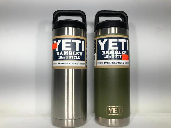 (2) Yeti 18oz Rambler Bottle Stainless Steel MSRP: $29.99, Yeti 18oz Rambler Bottle Olive Green MSRP
