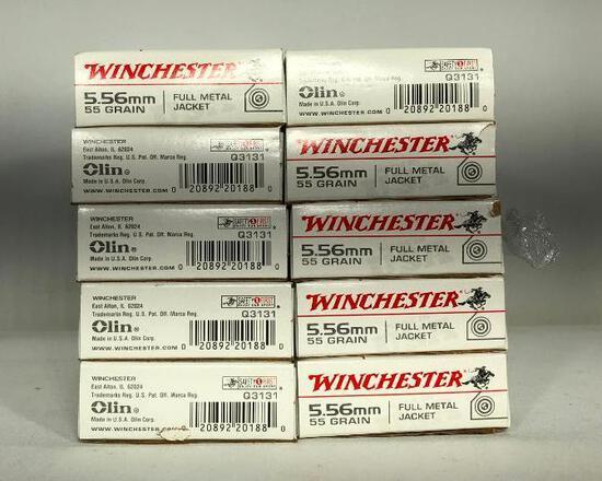 (10) Ten Winchester 5.56 mm 55 Grain Full Metal Jacket Ammo