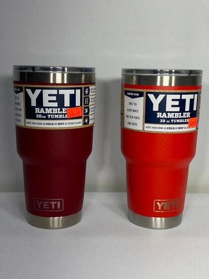 Two Yeti 30oz Rambler Tumblers, Brick Red, Canyon Red