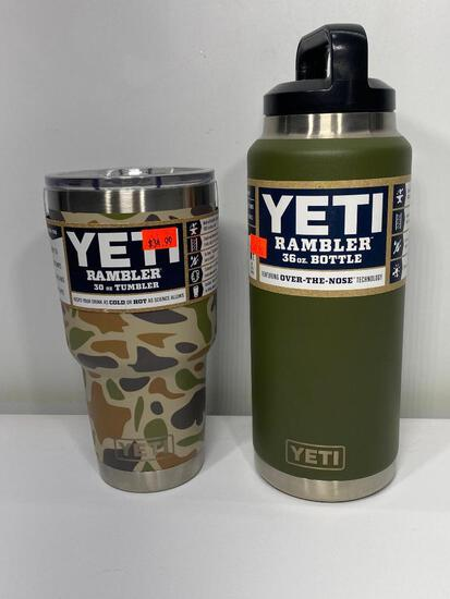 2 Items: Yeti Rambler 30oz Tumbler Camo, Yeti Rambler 36oz Rambler Bottle, Olive Green