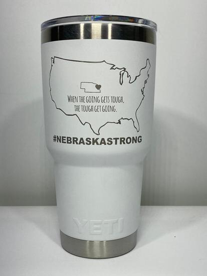 Yeti Nebraska Strong 30oz Tumbler, White w/ Nebraska Strong Logo