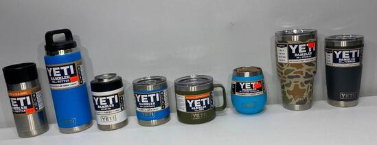 8 New Yeti Items: Various Colors, Colster, 2 Bottles, 5 Tumblers, Various Sizes