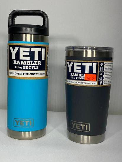 2 Items: Yeti 18oz Rambler Bottle Reef Blue, Yeti 20oz Tumbler Charcoal