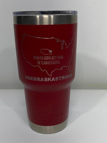Custom Nebraska Strong Yeti 30oz Tumbler, Brick Red w/ Nebraska Strong Logo