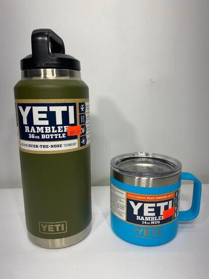 2 Items: Yeti Rambler 36oz Bottle, Olive, Yeti 14oz Rambler Mug, Reef Blue