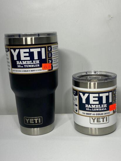 2 Items: Yeti Rambler 30oz Tumbler, Black, Yeti Rambler 10oz Lowball, White