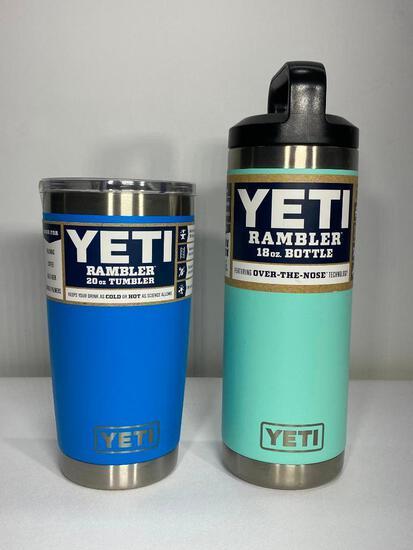 Two Items: Yeti Tumbler 20oz Bottle Tahoe Blue, 18oz Rambler Bottle Seafoam