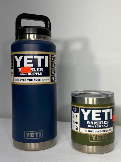 2 Items: Yeti 36oz Rambler Bottle Navy, Yeti Rambler 10oz Lowball Olilve Green