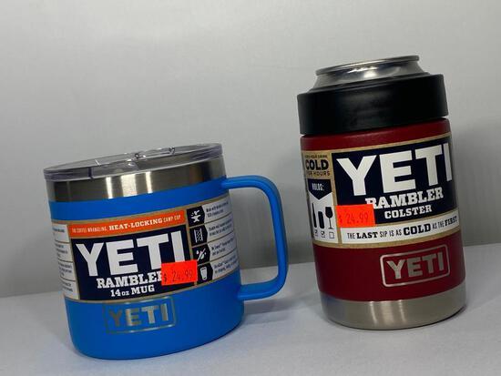 2 Items: Yeti 14oz Rambler Mug, Tahoe Blue, Yeti Colster, Brick Red