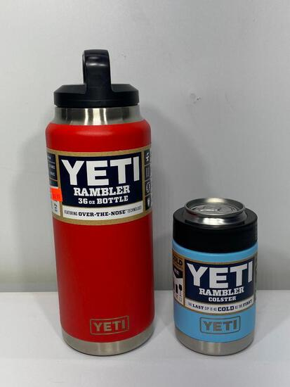 2 Items: Yeti Rambler 36oz Bottle Canyon Red, Yeti Colster, Sky Blue