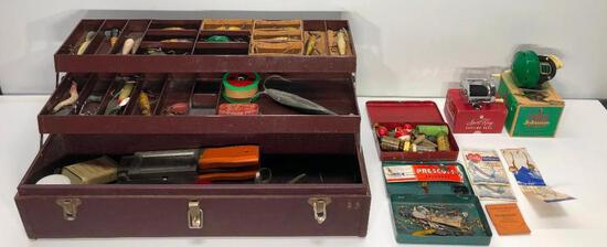 Hugh Metal Tackle Box Full of Old Lures and Other Fishing Items Including Vintage Reels