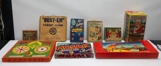 Lot of 8 Very Old Children's Games and Battery Operated Bartender