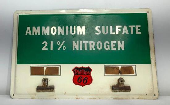 """Metal Ammonium Sulfate Sign with Phillips 66 Sticker 19"""" x 12"""""""