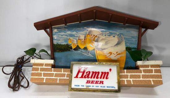 """Lighted Hamms Beer Sign 21"""" x 12"""" with Plastic Foliage"""