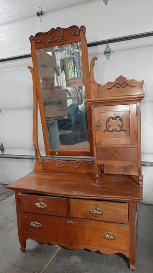Antique Hat Box Dresser with Mirror