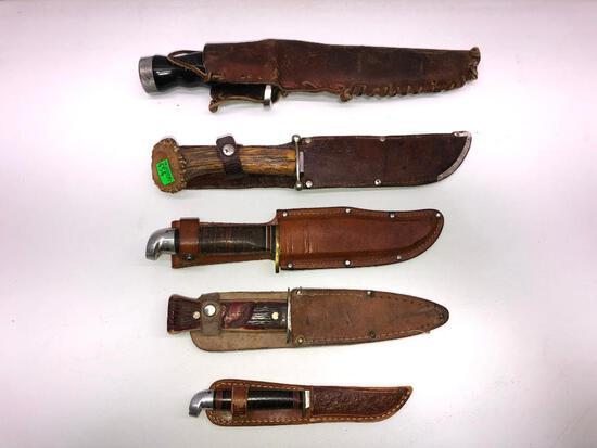 Lot of 5 Vintage Hunting and Scuba Knives KIENEL& PIEI, WESTERN, IMPERIAL & SEA HAWK