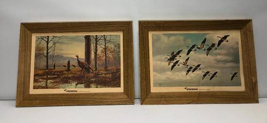 Lot of 6 Vintage Cardboard Framed Storz Omaha Wildlife Prints 2 FEDERAL & 4 SCHLITZ Brewing Co.