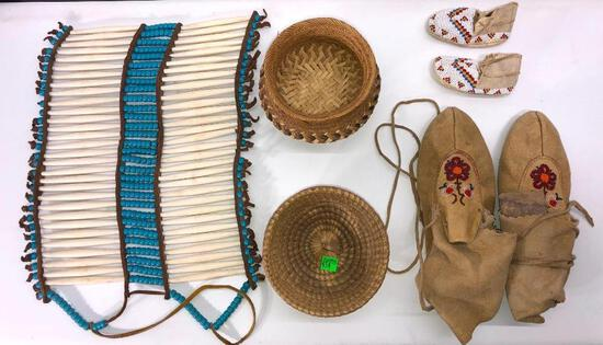Lot of Native American Baskets, Moccasins, and Chest Adornment