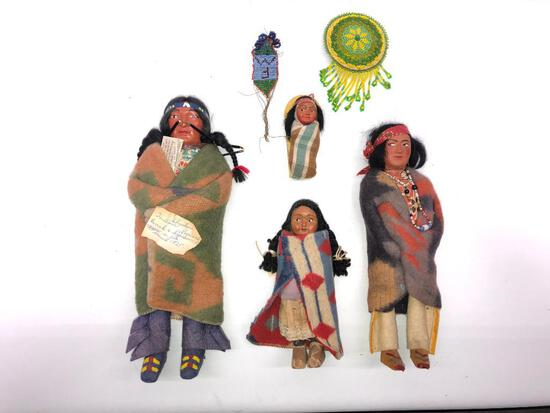 1930's Shookum Native American Dolls Man, Women, Child and Papoose.