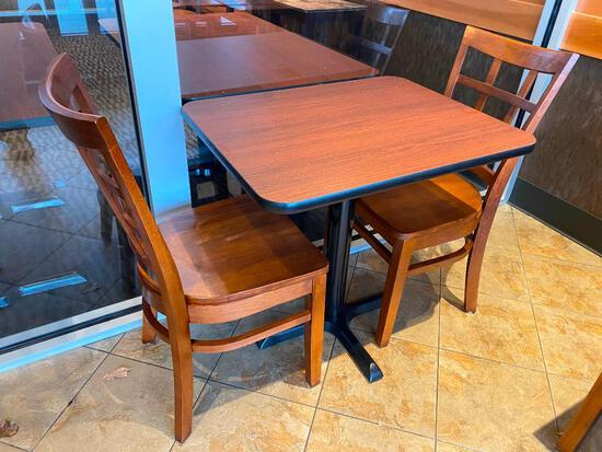 Restaurant Table (24in x 30in x 29in) w/ 2 Solid Wood Restaurant Chairs