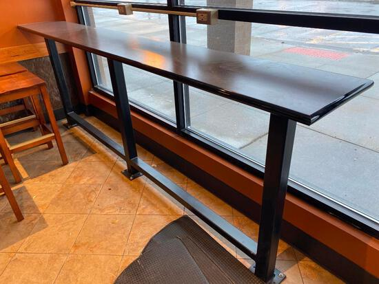 Restaurant Counter, Bar Stool Height w/ Foot Rest, Iron and Laminate 120in x 17.5in x 43in