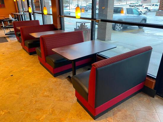 Bank of Booths & Tables, 7pc, 2 Double Back to Back Booths, 2 End Cap Booths, 3 Tables