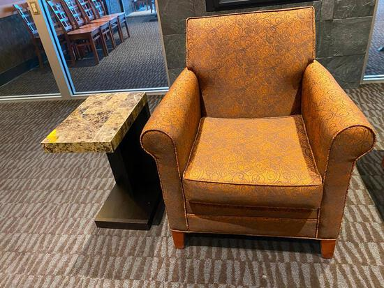 Designer Restaurant Upholstered Occasional Chair w/ Side Table