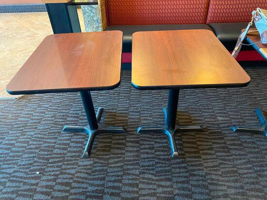 2 Restaurant Tables, Laminate Top, Pedestal Base, 29in H, 30in L, 24in D, 2x's $